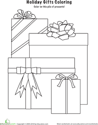 coloring pictures of christmas presents christmas presents worksheet education com