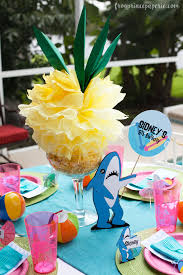 luau table centerpieces luau tissue paper pineapple pouf and diy pink flamingo decor