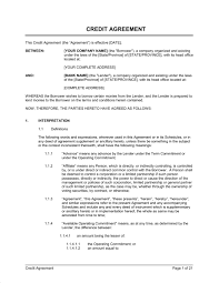credit agreement template u0026 sample form biztree com