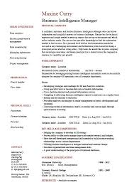 Technology Manager Resume Business Intelligence Manager Resume 1 Example Bi Online Job
