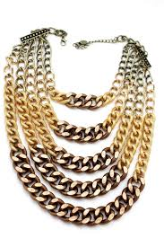 chunky gold necklace fashion images Gold bronze chunky metal chains 5 strand necklace earrings set new jpg