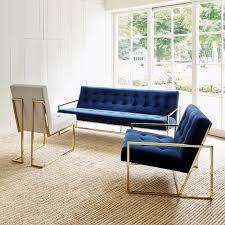 canapes et fauteuils canapés et fauteuils capitonnés velours bleu nuit et beige avec