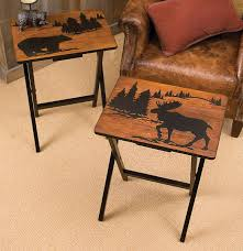 side table set of 2 mountain getaway folding side tables set of 2