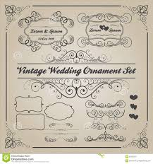set of vintage wedding ornaments and decorative elements stock