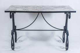 Green Wrought Iron Patio Furniture by Arabescato Marble Top Wrought Iron Garden Table France Circa