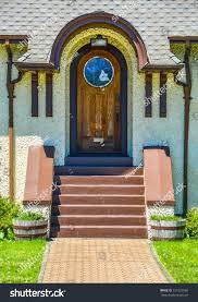 mosaic glass door elegant home front door stylish arch stock photo 151625966