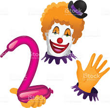 clown face and hands with balloon animal stock vector art