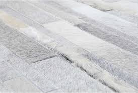 Hair On Hide Rug White And Gray Patchwork Cowhide Rug In Stripes Design Shine Rugs