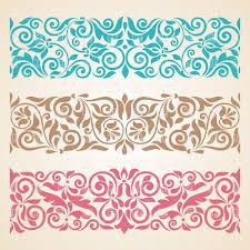 set of three horizontal ornamental borders vector clipart image