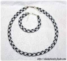 black beaded rope necklace images Houndstooth bead crocheted jewellery set black and white necklace jpg