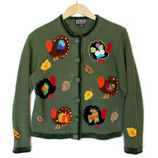 thanksgiving sweaters turkeys with things stuck to them tacky thanksgiving sweater