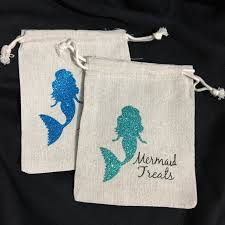 muslin favor bags mermaid birthday bridal shower hen party pouches wedding favor