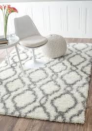 Plush Floor Rugs Moroccan Trellis Soft And Plush White Shag Rug 5 Feet 3 Inches By