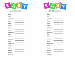 printable word scramble for baby shower choice image baby shower
