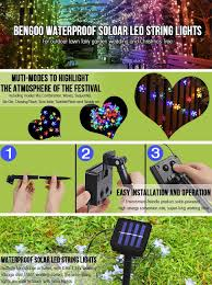bengoo solar led string lights waterproof christmas ambiance