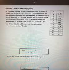 density of table salt solved 119 problem 1 density of salt water 25 points a