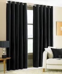 Thick Black Curtains Two Heavy Thick Panels Foam Blackout Black Grommet Window Curtain