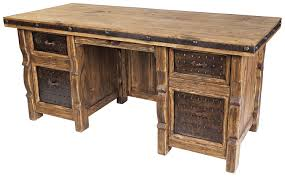 Rustic Wood Office Desk Rustic Wood Desk With Iron Panel Insets