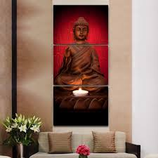 Canvas Painting For Home Decoration by Aliexpress Com Buy 3 Panels Canvas Print Red Buddha Painting For