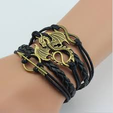 free leather bracelet images Game of thrones leather bracelet dragon charm free shipping jpg