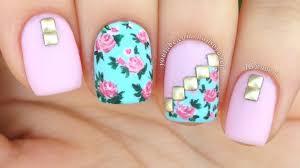 nail art tutorial vintage floral mix u0026 match youtube