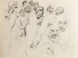 sketches for the painting krestny khod religious procession in