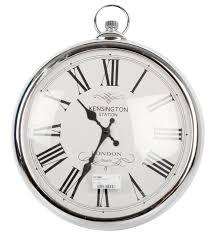Karlsson Orologio Da Parete by 42cm Round Metallic Silver Or Copper Pocket Watch Style Round Wall