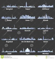blue color palette vector illustrations of asian city skylines in soft blue color