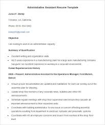Free Sample Resume For Administrative Assistant by Administration Resume Template U2013 24 Free Samples Examples