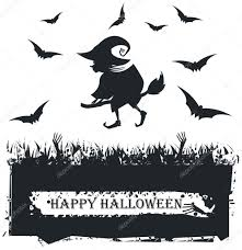black and white halloween background halloween card with witch silhouette on white background u2014 stock
