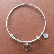 heart charm bangle bracelet images Silver tubular charm heart bangle bracelet sterling silver plated JPG