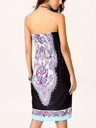 2017 short summer dress sleeveless printed high waist tube dress