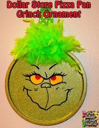 dollar store pizza pan grinch ornament christmas pinterest