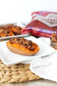 maple pecan baked sweet potatoes bits of