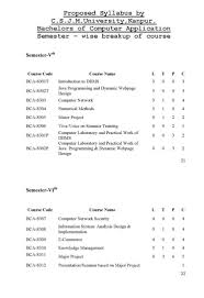Introduction To A Resume Syllabus Of Bca Kanpur University 2017 2018 Student Forum