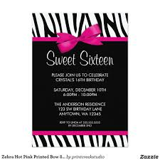 zebra pink printed bow sweet 16 birthday party 5x7 paper