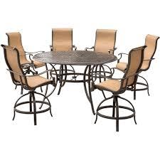 7 Piece Round Patio Dining Set - agio somerset 7 piece aluminum round outdoor bar height dining set