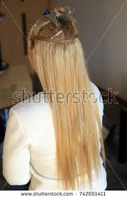 sewn in hair extensions hair extensions truss sewing buildup stock photo