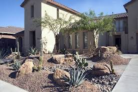 Modern Front Yard Desert Landscaping With Palm Tree And Desert Plant Front Yard Deserts Yards And App