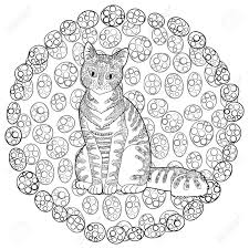 high detail patterned cat in style coloring page for anti