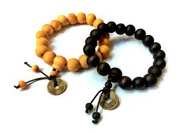 bead bracelet with charm images Wood beads stretch bracelet with chinese by vintagehomage on zibbet JPG