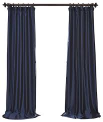 Blue Silk Curtains Navy Blue Blackout Faux Silk Taffeta Curtain Single Panel