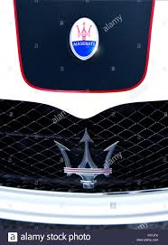 maserati trident logo maserati hood emblem and grill badge logo stock photo royalty