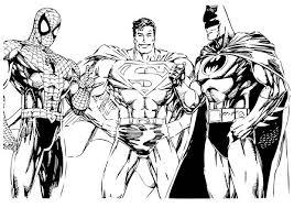 coloring pages amusing superman color sheet batman spiderman