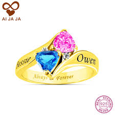 online get cheap custom engraving ring women aliexpress aijaja personalized sterling silver names birthstones engraved rings custom special wedding for women love