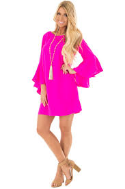 hot pink dress hot pink dress with trumpet sleeves lime lush boutique
