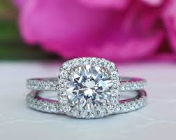 halo wedding ring 2 25 ctw classic square halo engagement ring wedding ring