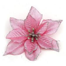 5pc lot lovely pink artificial xmas flower with three layers