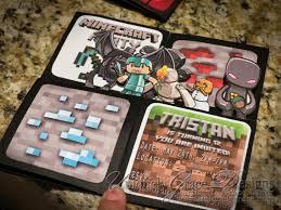Minecraft Invitation Cards Minecraft 3d Box Birthday Party Invitations Custom Handmade