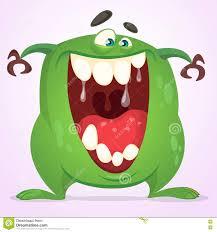 cartoon green blob monster vector character for halloween stock